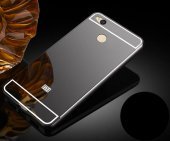 Xiaomi Redmi 4 Kılıf Aynalı Kenarları Metal Kapak Siyah + Kırılmaz Cam Ekran Koruyucu