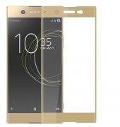 Sony Xperia Xa1 Kırılmaz Cam Gold Temperli Ekran Koruyucu Kenarları Tam Kaplayan