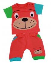 Renkli Köpekli 2li Erkek Bebek Şortlu Takım Turuncu