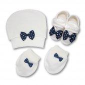 Patik,şapka Ve Eldiven Erkek Bebek Takım Lacivert