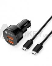 Aukey Cc T6 2 Portlu H.şarj Q.c 2.0 Ve 2 Adet 1mt Micro Usb Kablo