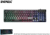 Everest Kb Gx9 Siyah Usb Gökkuşağı Renkli Aydınlatmalı Q Standart Gaming Klavye