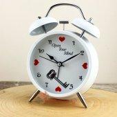 Aşk Temalı Beyaz Renkli Işıklı Alarmlı Çalar Saat Masa Saati