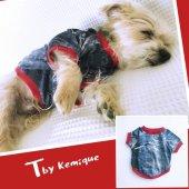 Mavi 3d Denım Oval Yaka Tişört T By Kemique Köpek Kıyafeti