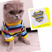 Yellow Strıpes Oval Yaka Tişört Summer T By Kemique Kedi Kıyaf