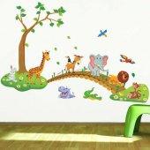 Sevimli Hayvanlar Köprü Ağaç Duvar Resmi Xl Ev Anaokulu Dekor Çık