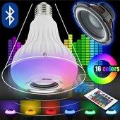Bluetooth Led Ampul Hoparlör Kumandalı Kablosuz Ses Bombası Rgbw
