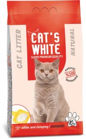 Cats White Kokusuz Topaklaşan Doğal Bentonit Kedi Kumu 12 Lt 10 K