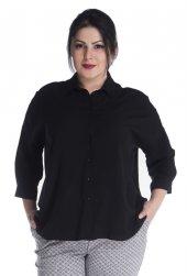 Strüktürlü Siyah 3 4 Kollu Gömlek