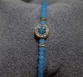 Mavi Kristal Taşlı Bayan Bileklik