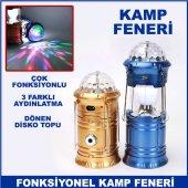 şarjlı Çok Fonksiyonlu Disko Toplu Power Bank Özellikli Kamp Fene