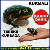Nostaljik Oyuncak Kurmalı Teneke Kurbağa Kurulunca Zıplayarak Yür