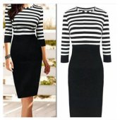 Kadın Siyah Çizgili Elbise