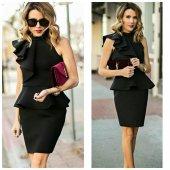 Kadın Volanlı Tek Omuz Siyah Elbise