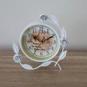 Ferforje Beyaz Çiçek Desen Masa Saati