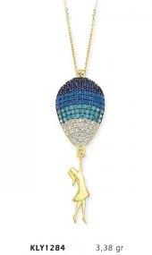 14 Ayar Altın Mavi Balonlu Kız Kolye Kly1284