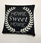 Nevresim Dünyası 3d Dijital Baskı Kırlent Kılıfı Home Sweet Home Black