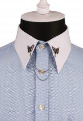 Kelebek Motif Taşlı Zincirli Gömlek Yaka İğnesi Gı135