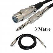 6.35mm Stereo 3 Pin Xlr Dişi Mikrofon Ses Kablosu 3metre