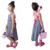 Sekids Sırt Dekolteli Çizgili Kız Çocuk Elbise