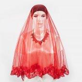 Kırmızı İnce Güpürlü Kına Örtüsü & Gelin Duvağı