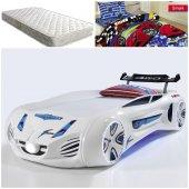 Arabalı Yatak + Ortopedik Yatak + Nevresim , Future Beyaz Ful Led