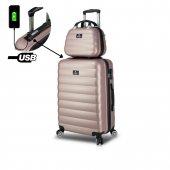 My Valice Smart Bag Colors Usb Şarj Girişli 2li Valiz Seti (Orta Ve Makyaj) Rose