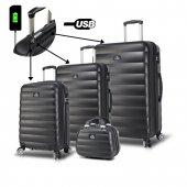 My Valice Smart Bag Colors Usb Şarj Girişli 4lü Valiz Seti (Travel Set) Siyah