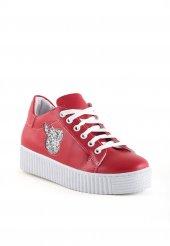 Clara Kırmızı Gümüş Simli Bayan Spor Ayakkabı