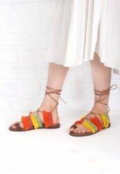 Efisio Turuncu Sarı Renkli Bilekten Bağlamalı Bayan Sandalet Ayakkabı