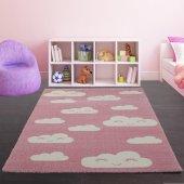 Pembe Bulutlu Çocuk Odası Halısı