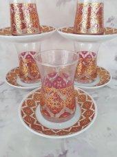 çay Bardağı Tabağı 12 Parça Yaldızlı Etnik