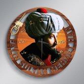 Fatih Sultan Mehmet Han Ahşap Tablo Duvar Saati Model A2