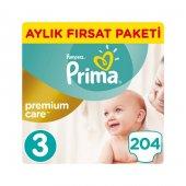 Prima Premium Care 3 Beden Midi 204 Adet Aylık Paket Bebek Bezi