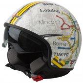 Sway 710 Avrupa Harita Yarım Açık Motor Kaskı Güneş Vizörlü Kask