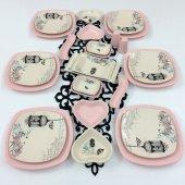 Keramika Retro Açık Pembe 6 Kişilik 26 Parça Kahvaltı Takımı