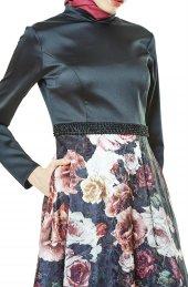 Fashion Night Çiçek Desenli Abiye Elbise Siyah 2196 01
