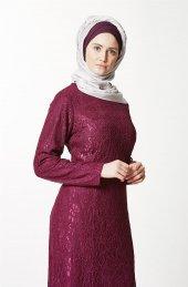 Fashion Night Güpürlü Abiye Elbise Mürdüm 4182 51