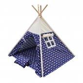 Oyun Çadırı %100 Pamuklu Kumaş Kızılderili Çadırı, Oyun Evi (Kod21yıldızlımavi)