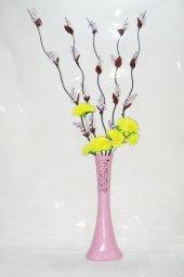 60 Cm Pudra Pembe Desenli Uzun Vazo 5 Adet Mor Üzüm Sarı Ortanca