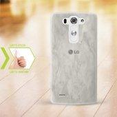 Kişiye Özel Lg G3 İnce Şeffaf Silikon Telefon Kapağı (Mermer Tema