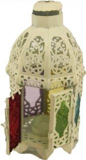 Ferforje Renkli Camlı Kapılı Fener Mumluk Hediyelik Süs Eşyası