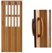 Camlı Akordiyon Kapı Meşe 83x205 Pvc Katlanır Kapı