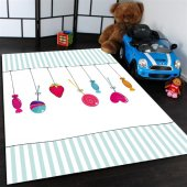 şeker Desenli Çocuk Odası Halısı