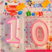 On 10 Yaş Kız Çocuk Pasta Mumu Pembe Renk
