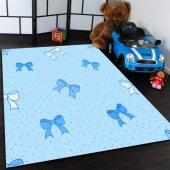 Mavi Kurdaleli Çocuk Odası Halısı