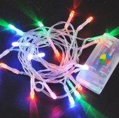 Beyaz Kablo 3m Pilli Led Işık Karışık Renk