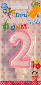 Iki 2 Yaş Kız Bebek Pasta Mumu Pembe Renk