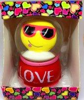 Sevgililer Günü Sulu Dilli Gözlükü Surat Smiley Sarı Kırmızı Küre