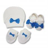 Patik,şapka Ve Eldiven Erkek Bebek Takım İndigo